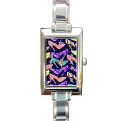 Colorful High Heels Pattern Rectangle Italian Charm Watch by DanaeStudio