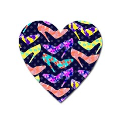 Colorful High Heels Pattern Heart Magnet by DanaeStudio