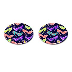 Colorful High Heels Pattern Cufflinks (oval) by DanaeStudio