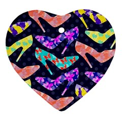 Colorful High Heels Pattern Heart Ornament (2 Sides) by DanaeStudio