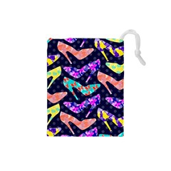 Colorful High Heels Pattern Drawstring Pouches (small)  by DanaeStudio