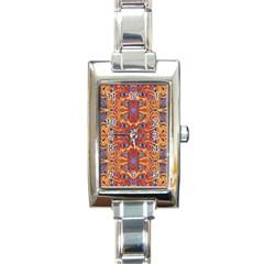 Oriental Watercolor Ornaments Kaleidoscope Mosaic Rectangle Italian Charm Watch by EDDArt