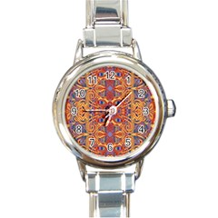 Oriental Watercolor Ornaments Kaleidoscope Mosaic Round Italian Charm Watch by EDDArt