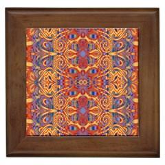 Oriental Watercolor Ornaments Kaleidoscope Mosaic Framed Tiles by EDDArt