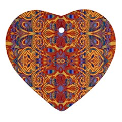 Oriental Watercolor Ornaments Kaleidoscope Mosaic Ornament (heart)  by EDDArt