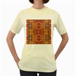 Oriental Watercolor Ornaments Kaleidoscope Mosaic Women s Yellow T-Shirt