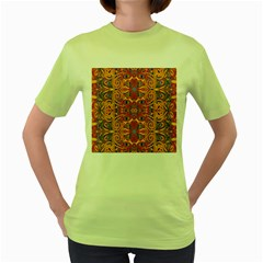 Oriental Watercolor Ornaments Kaleidoscope Mosaic Women s Green T Shirt by EDDArt