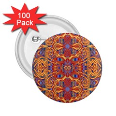 Oriental Watercolor Ornaments Kaleidoscope Mosaic 2 25  Buttons (100 Pack)  by EDDArt