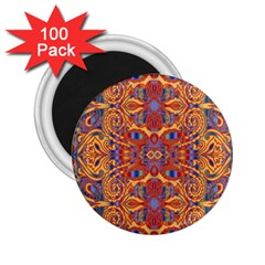 Oriental Watercolor Ornaments Kaleidoscope Mosaic 2 25  Magnets (100 Pack)  by EDDArt