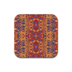 Oriental Watercolor Ornaments Kaleidoscope Mosaic Rubber Coaster (square)  by EDDArt