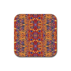 Oriental Watercolor Ornaments Kaleidoscope Mosaic Rubber Square Coaster (4 Pack)  by EDDArt