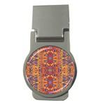Oriental Watercolor Ornaments Kaleidoscope Mosaic Money Clips (Round)