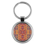 Oriental Watercolor Ornaments Kaleidoscope Mosaic Key Chains (Round)