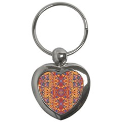 Oriental Watercolor Ornaments Kaleidoscope Mosaic Key Chains (heart)  by EDDArt