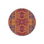 Oriental Watercolor Ornaments Kaleidoscope Mosaic Rubber Coaster (Round)