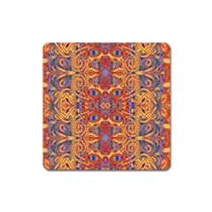 Oriental Watercolor Ornaments Kaleidoscope Mosaic Square Magnet by EDDArt