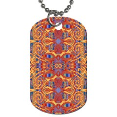 Oriental Watercolor Ornaments Kaleidoscope Mosaic Dog Tag (one Side) by EDDArt