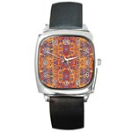 Oriental Watercolor Ornaments Kaleidoscope Mosaic Square Metal Watch