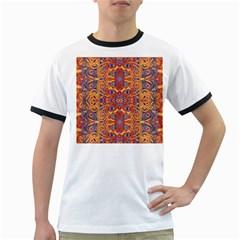 Oriental Watercolor Ornaments Kaleidoscope Mosaic Ringer T Shirts by EDDArt