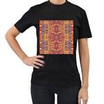 Oriental Watercolor Ornaments Kaleidoscope Mosaic Women s T-Shirt (Black) (Two Sided)