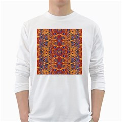 Oriental Watercolor Ornaments Kaleidoscope Mosaic White Long Sleeve T Shirts by EDDArt