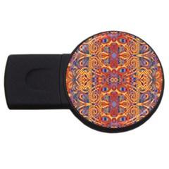 Oriental Watercolor Ornaments Kaleidoscope Mosaic Usb Flash Drive Round (4 Gb)  by EDDArt