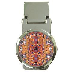 Oriental Watercolor Ornaments Kaleidoscope Mosaic Money Clip Watches by EDDArt