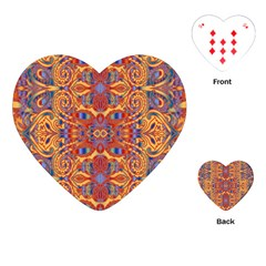 Oriental Watercolor Ornaments Kaleidoscope Mosaic Playing Cards (heart)  by EDDArt