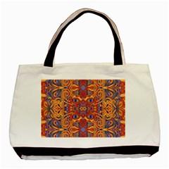 Oriental Watercolor Ornaments Kaleidoscope Mosaic Basic Tote Bag by EDDArt