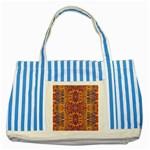 Oriental Watercolor Ornaments Kaleidoscope Mosaic Striped Blue Tote Bag