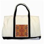 Oriental Watercolor Ornaments Kaleidoscope Mosaic Two Tone Tote Bag