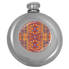 Oriental Watercolor Ornaments Kaleidoscope Mosaic Round Hip Flask (5 Oz) by EDDArt