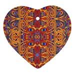 Oriental Watercolor Ornaments Kaleidoscope Mosaic Heart Ornament (2 Sides)