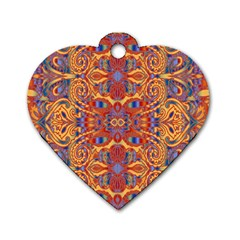 Oriental Watercolor Ornaments Kaleidoscope Mosaic Dog Tag Heart (one Side) by EDDArt