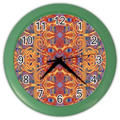Oriental Watercolor Ornaments Kaleidoscope Mosaic Color Wall Clocks by EDDArt