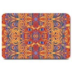 Oriental Watercolor Ornaments Kaleidoscope Mosaic Large Doormat  by EDDArt