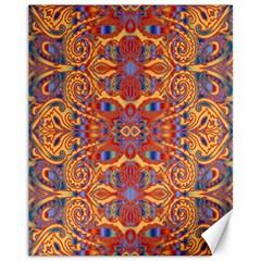 Oriental Watercolor Ornaments Kaleidoscope Mosaic Canvas 11  X 14   by EDDArt