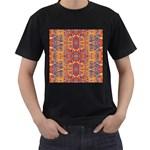 Oriental Watercolor Ornaments Kaleidoscope Mosaic Men s T-Shirt (Black)