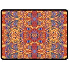 Oriental Watercolor Ornaments Kaleidoscope Mosaic Fleece Blanket (large)  by EDDArt