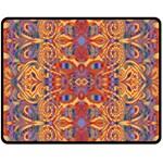 Oriental Watercolor Ornaments Kaleidoscope Mosaic Fleece Blanket (Medium)