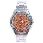 Oriental Watercolor Ornaments Kaleidoscope Mosaic Stainless Steel Analogue Watch