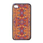 Oriental Watercolor Ornaments Kaleidoscope Mosaic Apple iPhone 4 Case (Black)