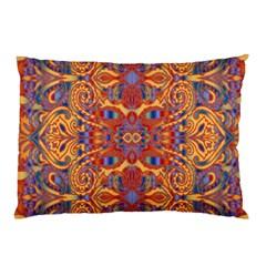 Oriental Watercolor Ornaments Kaleidoscope Mosaic Pillow Case (two Sides) by EDDArt