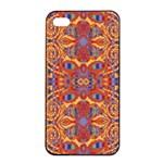 Oriental Watercolor Ornaments Kaleidoscope Mosaic Apple iPhone 4/4s Seamless Case (Black)