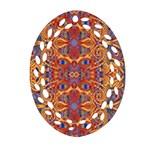 Oriental Watercolor Ornaments Kaleidoscope Mosaic Ornament (Oval Filigree)