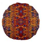 Oriental Watercolor Ornaments Kaleidoscope Mosaic Large 18  Premium Round Cushions