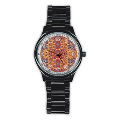 Oriental Watercolor Ornaments Kaleidoscope Mosaic Stainless Steel Round Watch by EDDArt