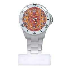 Oriental Watercolor Ornaments Kaleidoscope Mosaic Plastic Nurses Watch by EDDArt