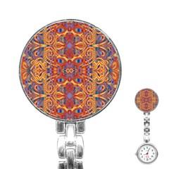 Oriental Watercolor Ornaments Kaleidoscope Mosaic Stainless Steel Nurses Watch by EDDArt