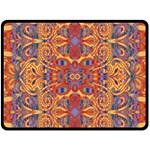 Oriental Watercolor Ornaments Kaleidoscope Mosaic Double Sided Fleece Blanket (Large)